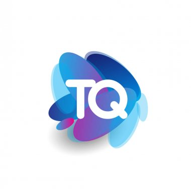 Letter TQ logo with colorful splash background, letter combination logo design for creative industry, web, business and company. icon