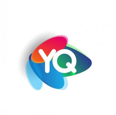Letter YQ logo with colorful splash background, letter combination logo design for creative industry, web, business and company. icon