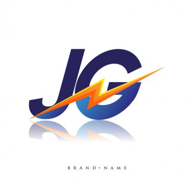 Letter JG logo with Lightning icon, letter combination Power Energy Logo design for Creative Power ideas, web, business and company.