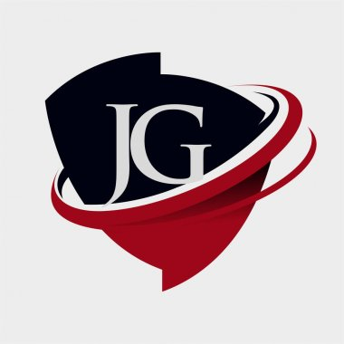 initial letter JG logotype company name colored red and black swoosh and emblem design. isolated on white background.
