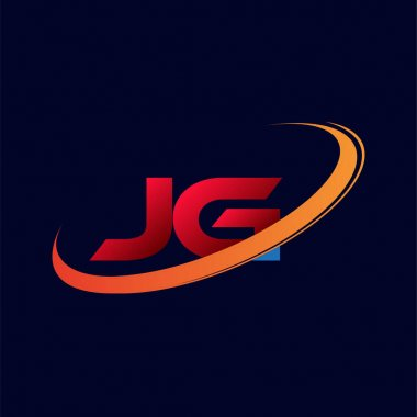 initial letter JG logotype company name colored red and orange swoosh design. isolated on dark background.