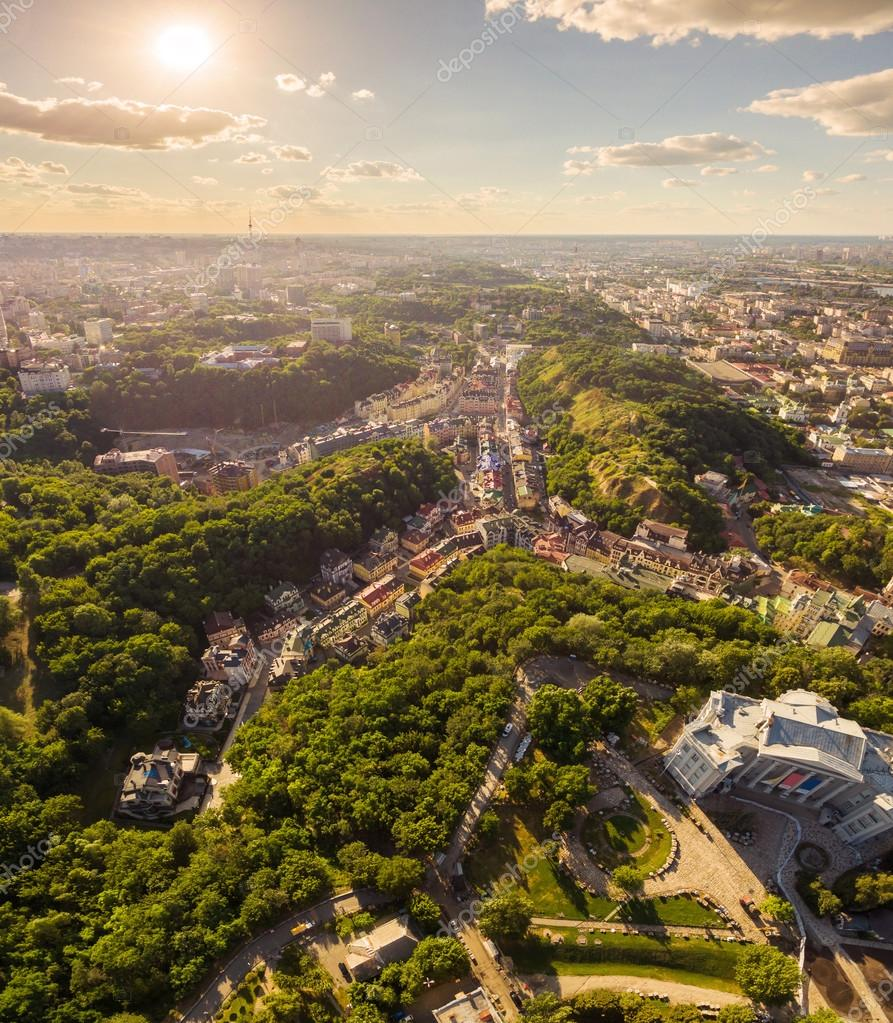 Kiev City skyline aerial view. Vozdvizhenka.Ukraine