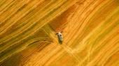 Kombajn v poli a žne pšenici. Ukrajina. Letecký pohled