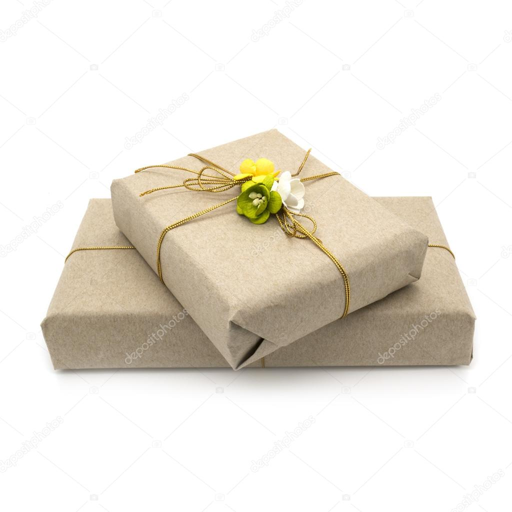 Gift boxes decorated flowers stock photo lermannika 55815547 gift boxes wrapped brown paper and decorated flowers white background photo by lermannika mightylinksfo