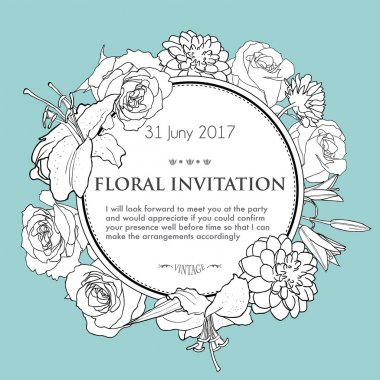 Foral background for wedding, birthday, invitation. Vector hand