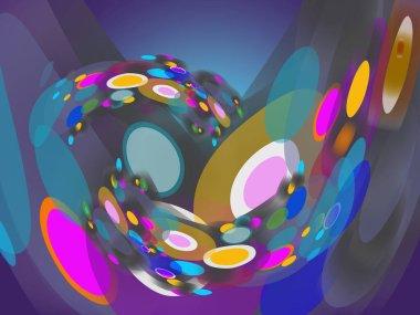 """Картина, постер, плакат, фотообои """"абстрактный современный круг и овал, раскрашенный в космические цвета, для искушения на современной, векторной иллюстрации, пространство для печати, обложки книги, макета рабочего процесса, делового искусства и фона журнального искусства. природа города москва"""", артикул 473850252"""