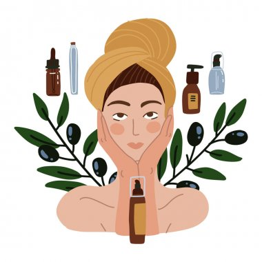 Beautiful girl with towel on her head. Olive oil natural cosmetics. DIY concept Young woman with many organic cosmetics tubes. Vector flay Illustration. icon