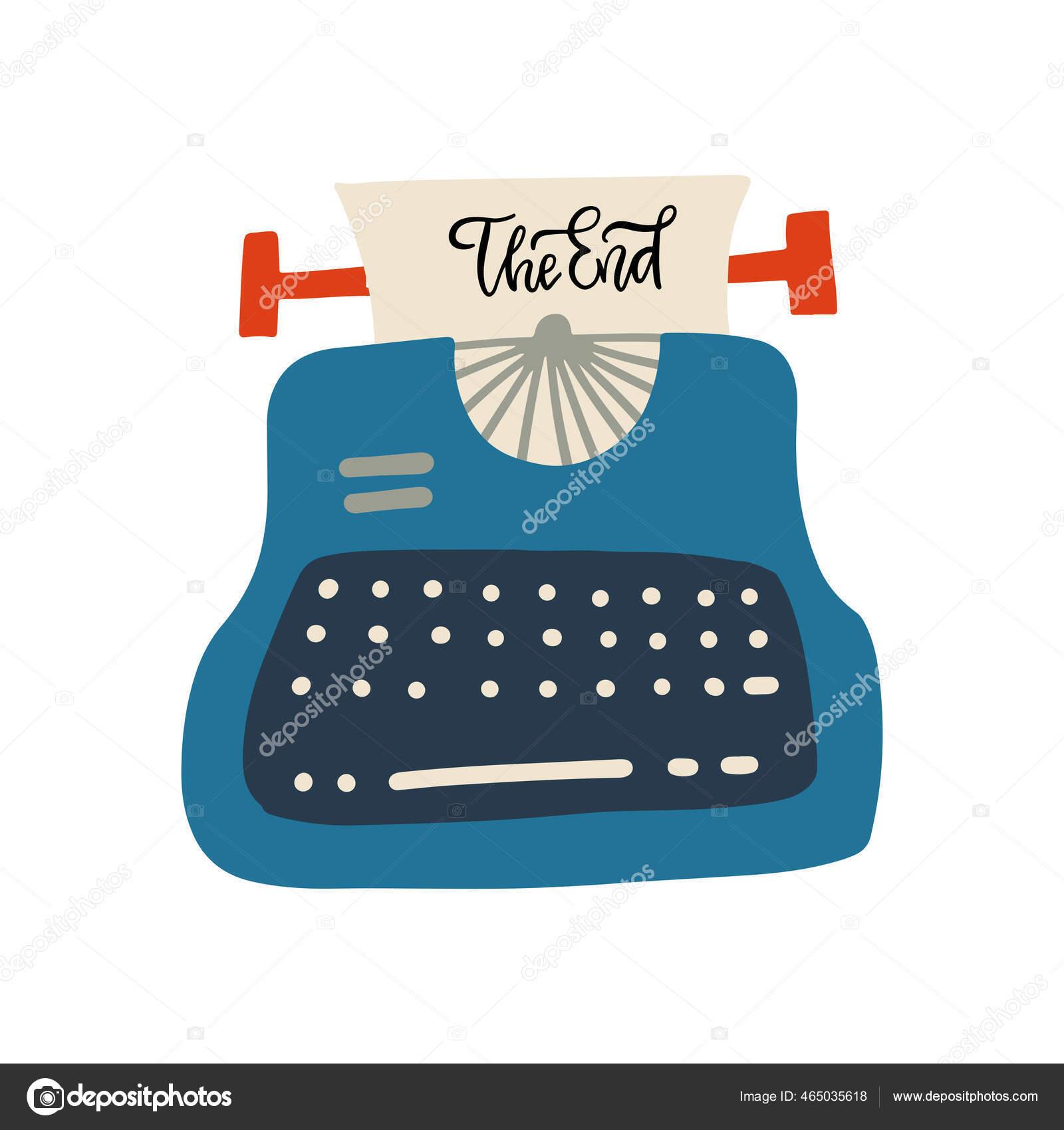 23 Das Konzept der Endbuchstaben. Phrase auf Blatt Papier in alter  Schreibmaschine. Flache Vektor Hand gezeichnete Illustration. 10