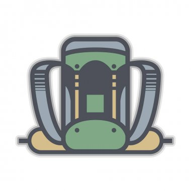 Camping backpack icon or sign, abstract vector illustration icon