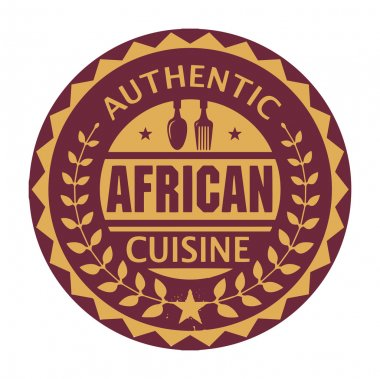 Abstract stamp or label with the text Authentic African Cuisine