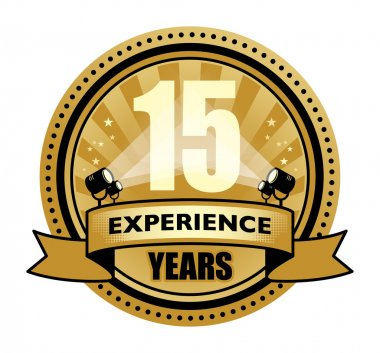 Label with the text 15 Years Experience written inside