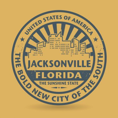 Grunge rubber stamp with name of Jacksonville, Florida