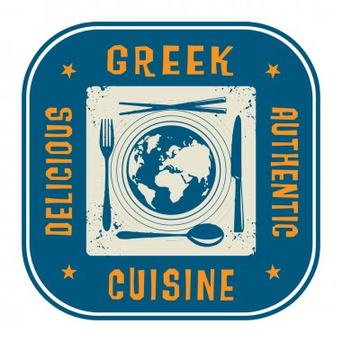 Abstract stamp with the text Authentic Greek Cuisine written ins