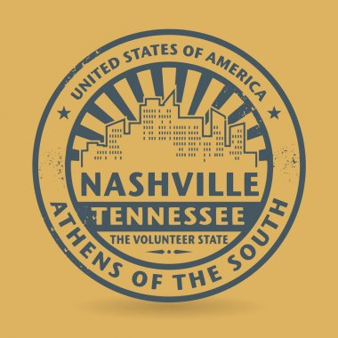 Grunge rubber stamp with name of Nashville, Tennessee