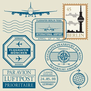 Travel stamps set
