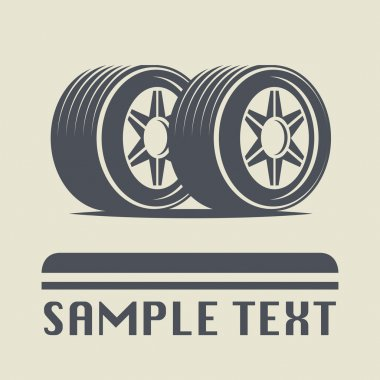 Car wheel icon or sign