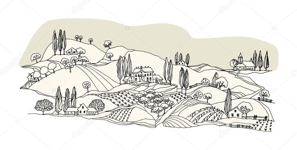 Dibujos Para Colorear De Casas De Campo: Imágenes: Dibujo De Campo