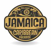 Photo Stamp or label with the name of Jamaica