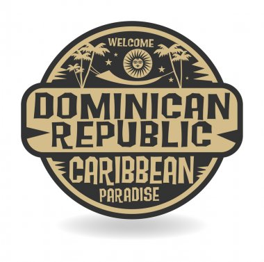 Stamp or label with the name of Dominican Republic