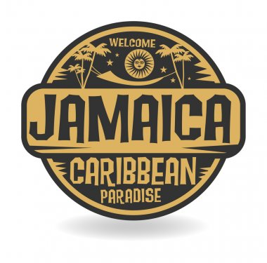 Stamp or label with the name of Jamaica