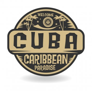 Stamp or label with the name of Cuba
