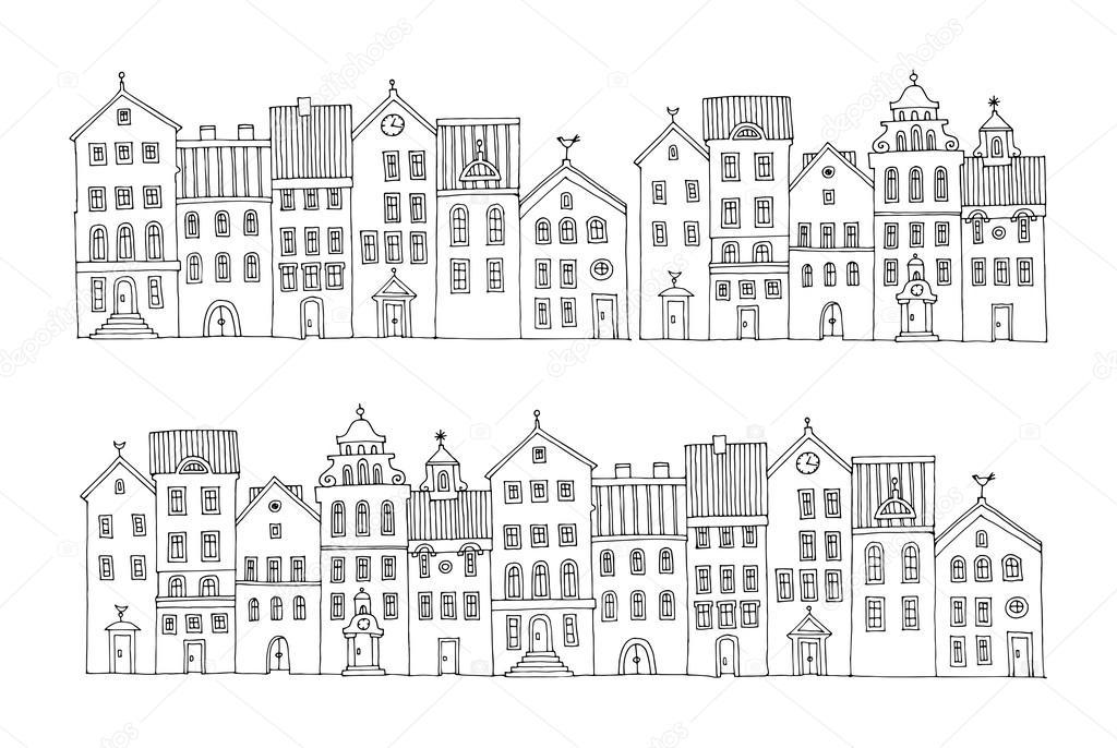 Hand tekenen van huizen stockvector fla 58511579 for Huizen tekenen