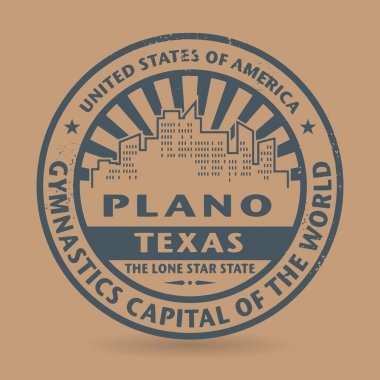 Grunge rubber stamp with name of Plano, Texas