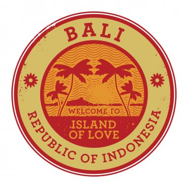 Stamp or label with the name of Bali Island