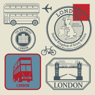 Travel stamps set, London