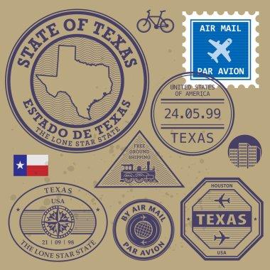 Stamp set with name and map of Texas, USA