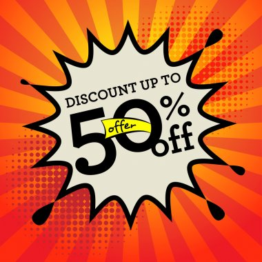 Comic book explosion with text Discount up to 50 percent