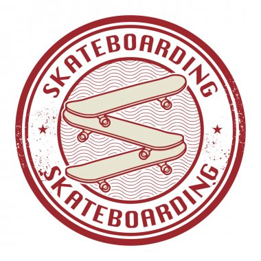Stamp with text Skateboarding