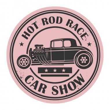 Retro Hot Rod stamp or label, vector