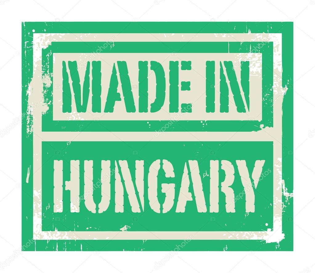 Resumen sello o etiqueta con el texto hecho en Hungría — Archivo ...