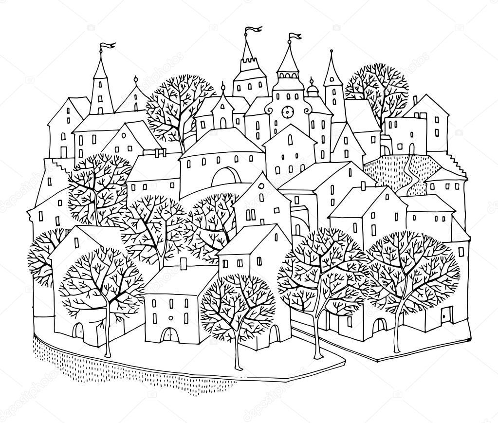 Cartoon hand tekenen van huizen stockvector fla 68014723 for Huizen tekenen
