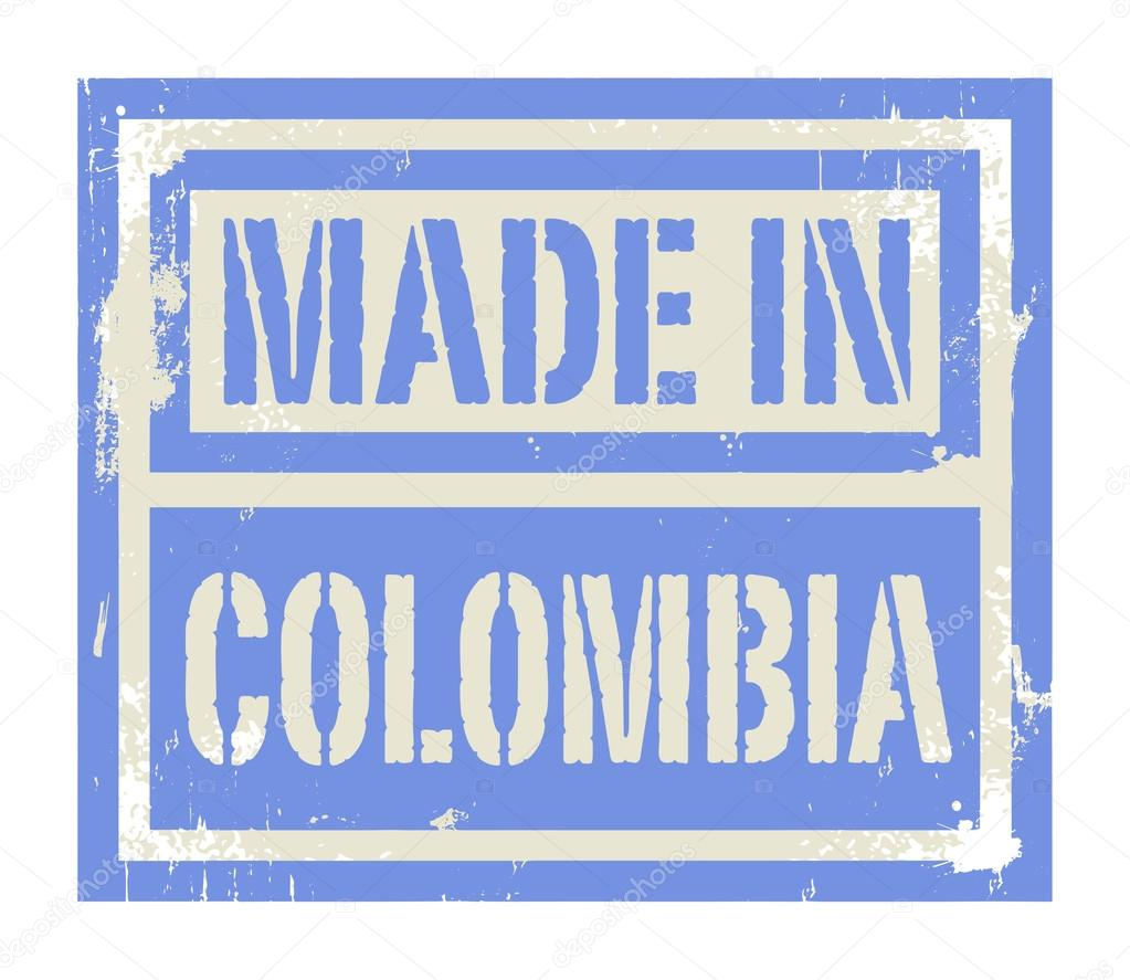 Resumen sello o etiqueta con el texto hecho en Colombia — Vector de ...