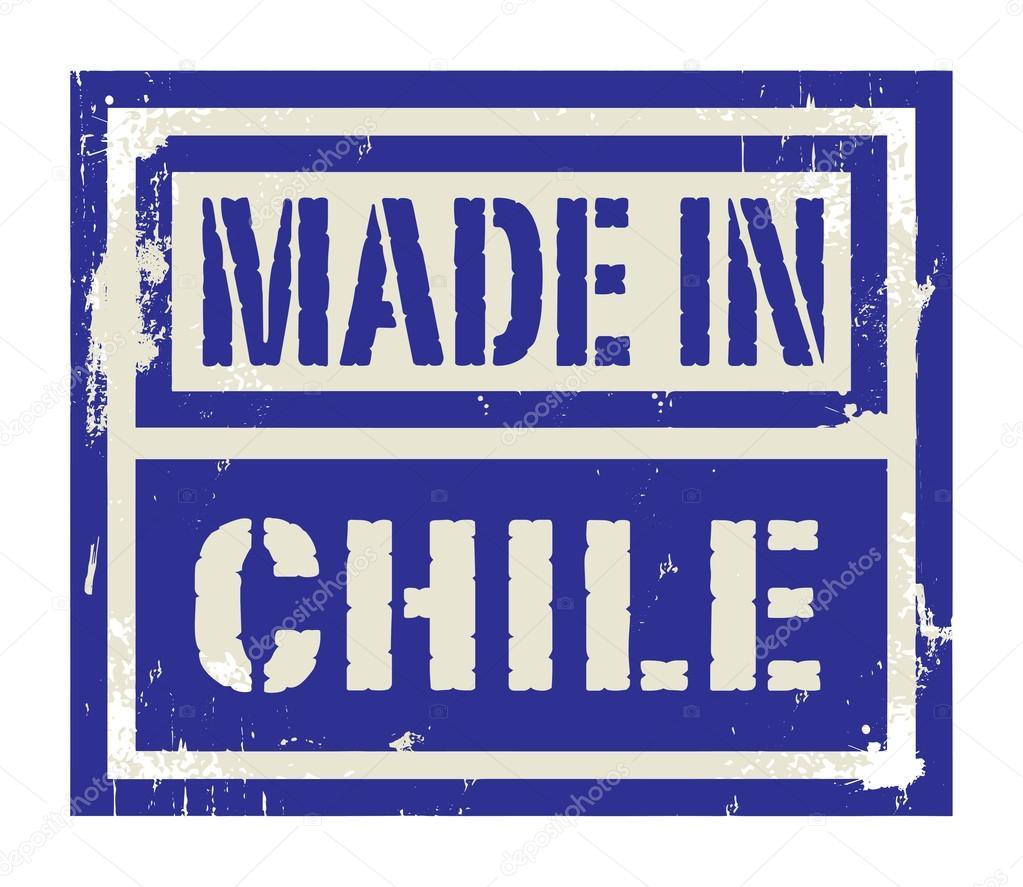 Resumen sello o etiqueta con el texto hecho en Chile — Vector de ...