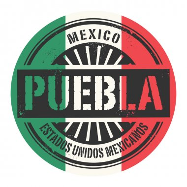 Grunge rubber stamp with the text Mexico, Puebla