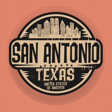 Stamp or label with name of San Antonio, Texas