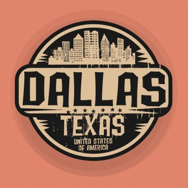 Stamp or label with name of Dallas, Texas
