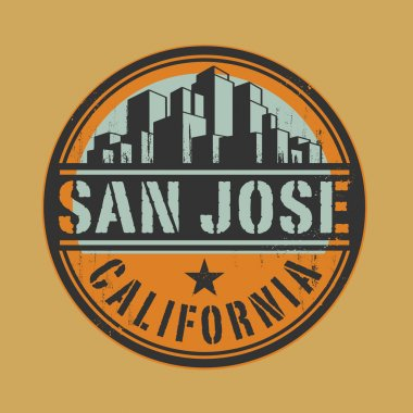 Stamp or label with name of San Jose, California