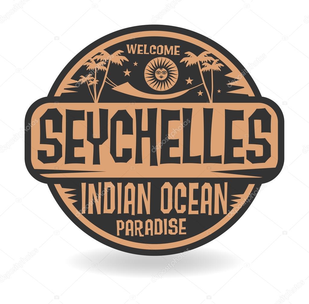 stempel oder aufkleber mit dem namen der seychellen indischer ozean stockvektor fla 77446108. Black Bedroom Furniture Sets. Home Design Ideas