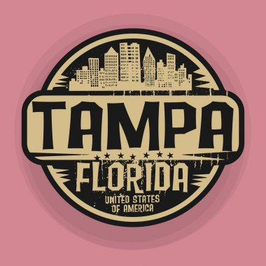 Stamp or label with name of Tampa, Florida