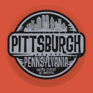 Stamp or label with name of Pittsburgh, Pennsylvania