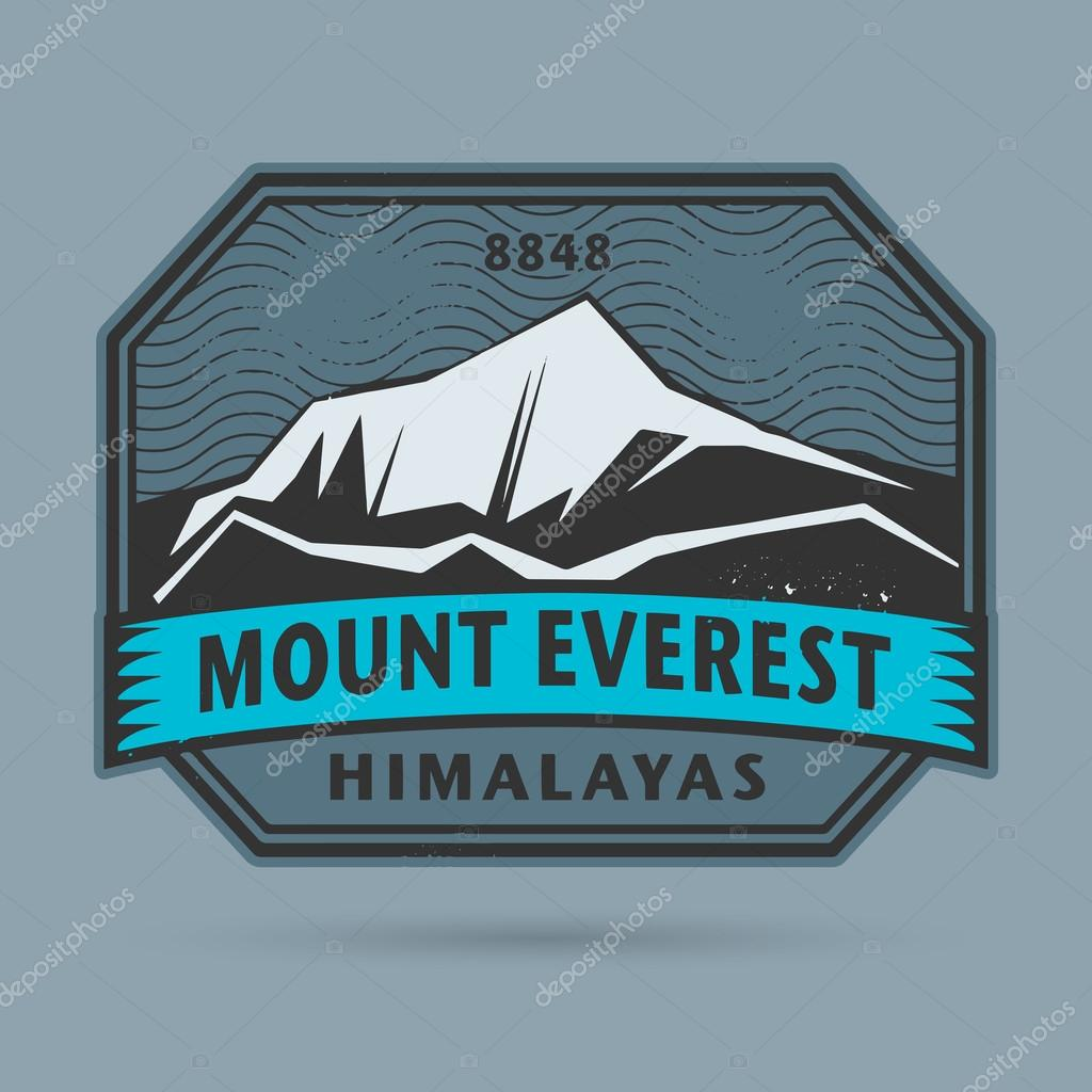 Stamp or label with the Mount Everest