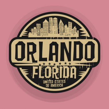 Stamp or label with name of Orlando, Florida