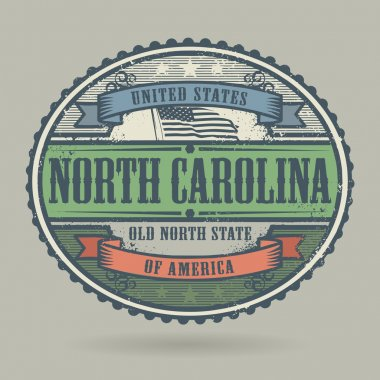 Vintage stamp with the text United States of America, North Carolina