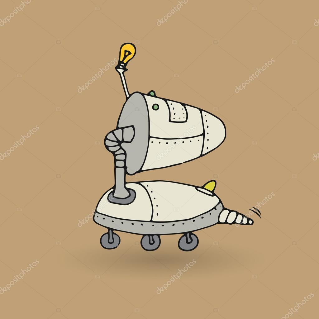 Roztomily Robot Doodle Kresba Stock Vektor C Fla 86241488