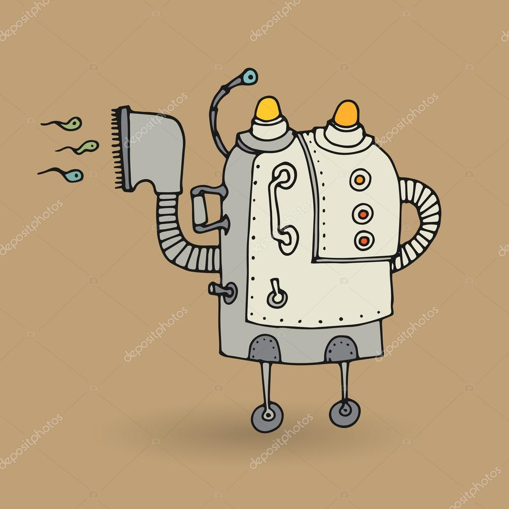 Roztomily Robot Doodle Kresba Stock Vektor C Fla 86241532