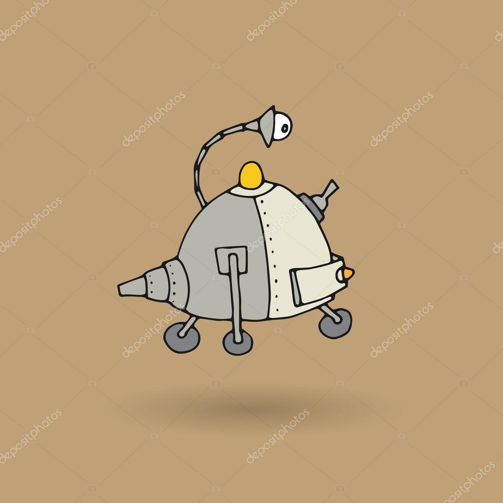Roztomily Robot Doodle Kresba Stock Vektor C Fla 86241640
